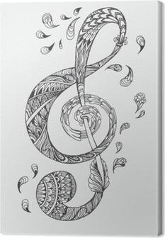 Cuadros en lienzo premium Tecla de música dibujado a mano con adornos étnicos patrón del doodle. Ilustración del vector de la alheña Mandala Zentangle estilizado para el libro de la cubierta o de la tarjeta, tatuaje más. Diseño para la relajación espiritual para los adultos.