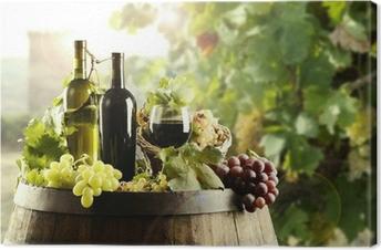 Cuadros en lienzo premium Vino con el barril y el viñedo
