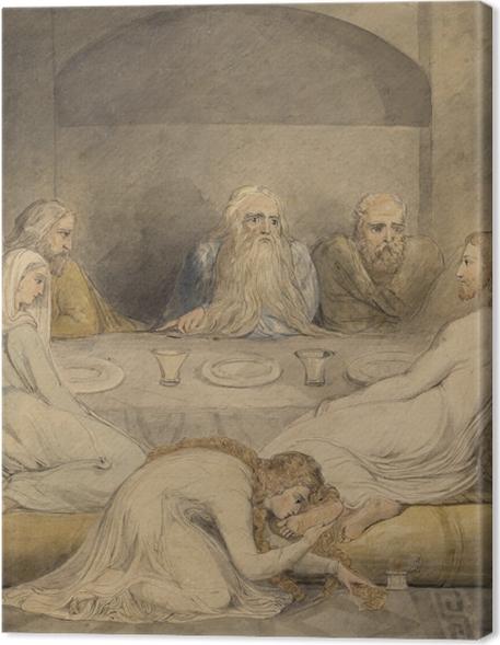 Cuadros en lienzo premium William Blake - Unge a Jesús una mujer Sinfil - Reproducciones