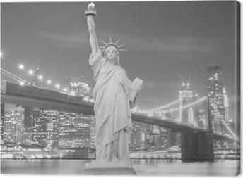 Cuadro en Lienzo Puente de Brooklyn y la Estatua de la Libertad en la noche