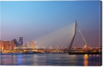 Cuadro en Lienzo Puente Erasmus en Rotterdam en el crepúsculo