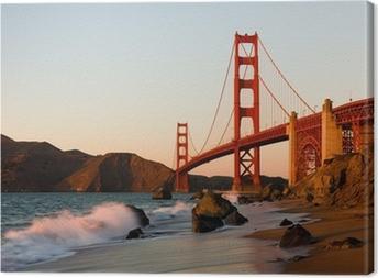 Cuadro en Lienzo Puente Golden Gate en San Francisco al atardecer