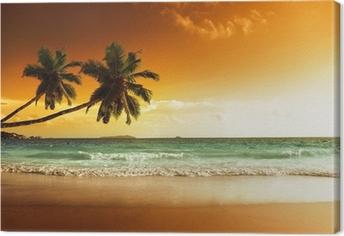 Cuadro en Lienzo Puesta de sol en la playa del mar Caribe