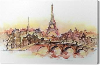 Cuadro en Lienzo Puesta de sol en París