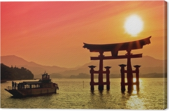 Cuadro en Lienzo Puesta del sol vista de Puerta de Torii, Miyajima, Japón