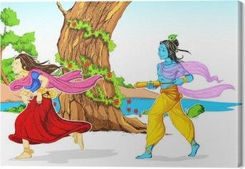 Cuadro en Lienzo Radha Krishna que juega Holi