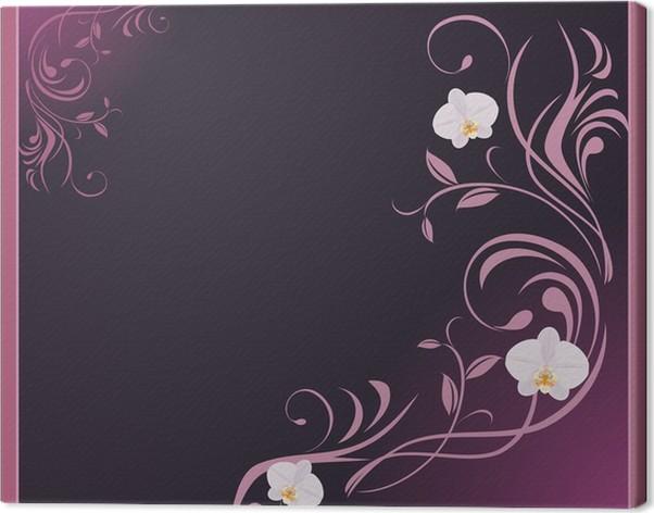 Cuadro en Lienzo Ramita ornamental de orquídeas en el marco ...