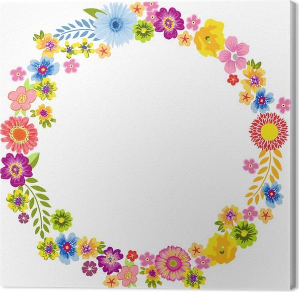 cuadro en lienzo redondo marco de flores de primavera pixers