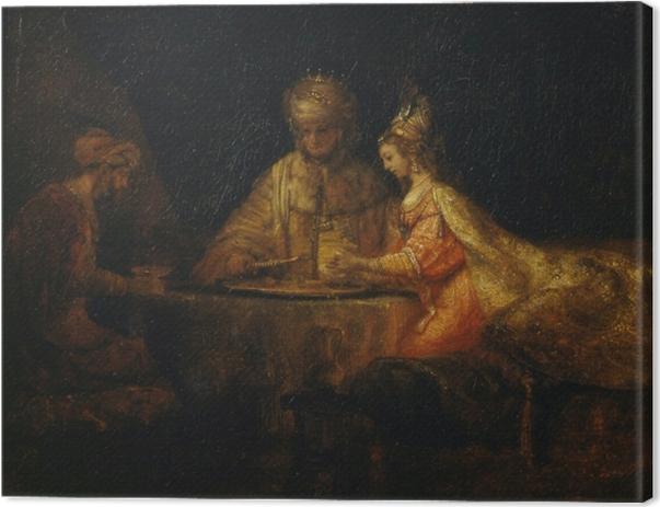 Cuadro en Lienzo Rembrandt - Asuero y Haman en el banquete de Ester - Reproducciones
