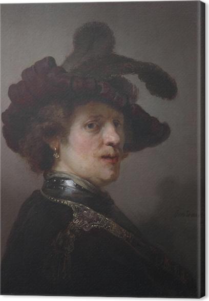 Cuadro en Lienzo Rembrandt - Autorretrato con el sombrero Emplumada - Reproducciones