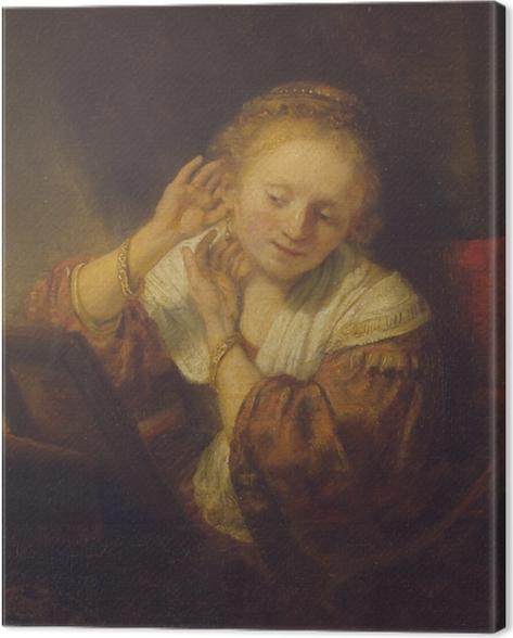 Cuadro en Lienzo Rembrandt - Mujer joven que intenta en los pendientes - Reproducciones