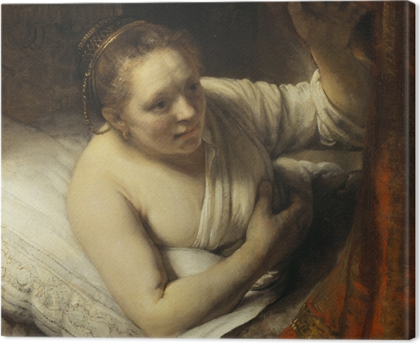 Cuadro en Lienzo Rembrandt - Una mujer en la cama - Reproducciones