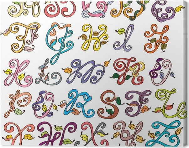 Cuadro en Lienzo Resumen ABC, alfabeto natural con hojas • Pixers ...