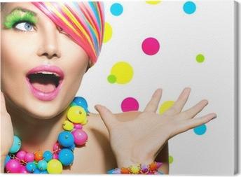 Cuadro en Lienzo Retrato de la belleza con la manicura Maquillaje Colorido y Peinado