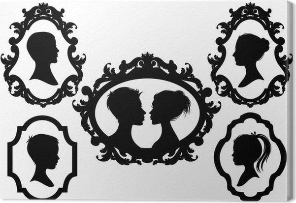 Cuadro en Lienzo Retratos de familia con marcos de cuadros, vector ...