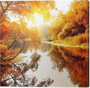 Cuadro en Lienzo Río en un bosque encantador otoño