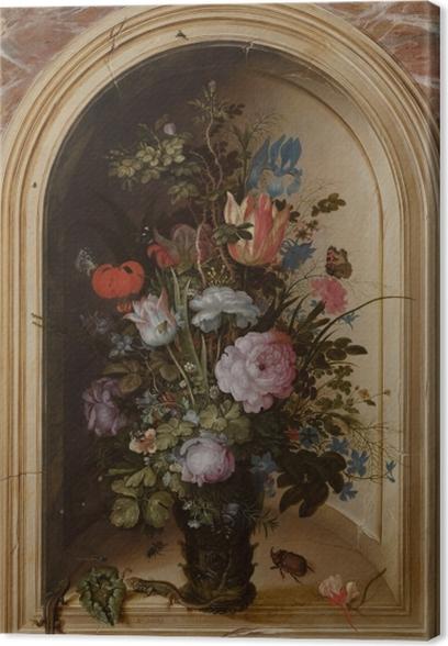 Cuadro en Lienzo Roelant Savery - Vase with Flowers in a Stone Niche - Reproducciones