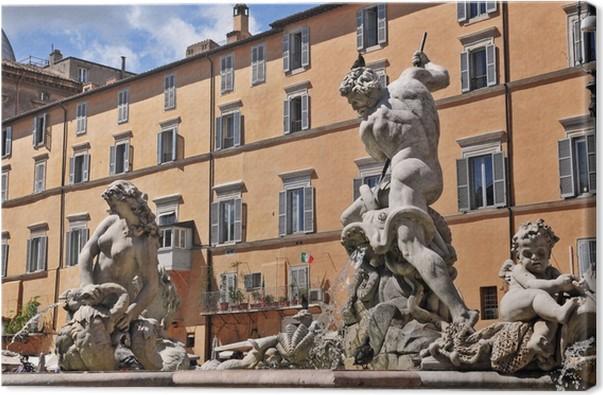 Cuadro En Lienzo Roma Piazza Navona Y La Fuente De Neptuno