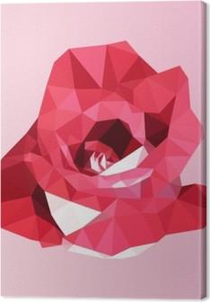 Cuadro en Lienzo Rosa roja poligonal. poli vector de la flor geométrica del triángulo baja