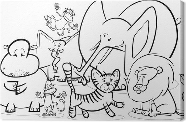 Cuadro en Lienzo Safari africano animales de dibujos animados para ...