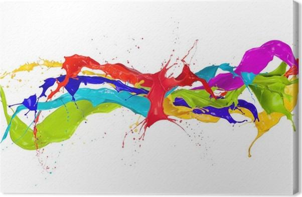 Cuadro en lienzo salpicaduras de pintura de colores aislados sobre fondo blanco pixers - Salpicaduras de pintura ...