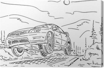 Cuadro en Lienzo Saltar coche de rally
