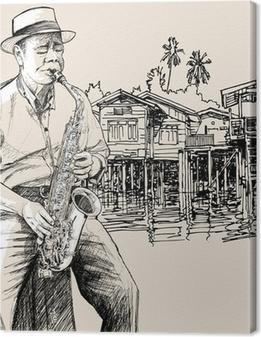 Cuadro en Lienzo Saxofonista en el río de fondo