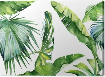 Cuadro en Lienzo Seamless acuarela ilustración de las hojas tropicales, densa selva. Patrón con motivo de verano trópico se puede utilizar como textura de fondo, papel de embalaje, textiles, diseño de papel tapiz.