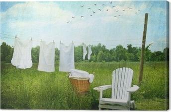 Cuadro en Lienzo Servicio de lavandería secado en tendedero