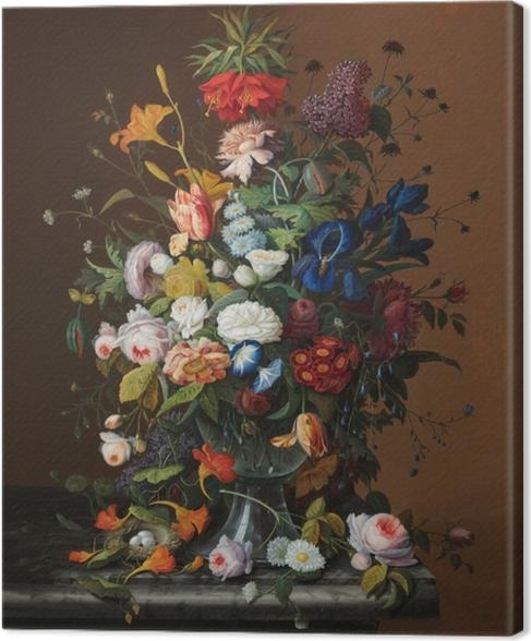 Cuadro en Lienzo Severin Roesen - Flower Still Life with Bird's Nest - Reproducciones