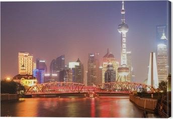 Cuadro en Lienzo Shanghai puente del jardín de la noche