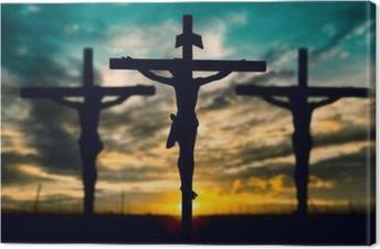 Cuadro en Lienzo Silueta de Jesús con la cruz sobre el concepto de la puesta del sol por la religión,