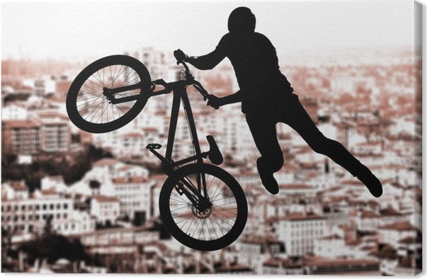 Cuadro en Lienzo Silueta del jinete de BMX deporte en acción con un ...