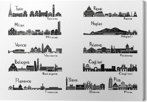 Cuadro en Lienzo Silueta lugares de interés de 11 ciudades de Italia ...