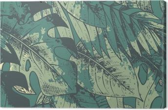 Cuadro en Lienzo Sin patrón, con Green dibujado a mano las plantas tropicales