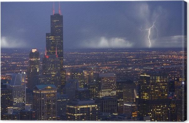 Cuadro en Lienzo Skyline Chicago Tormenta • Pixers® - Vivimos para ...