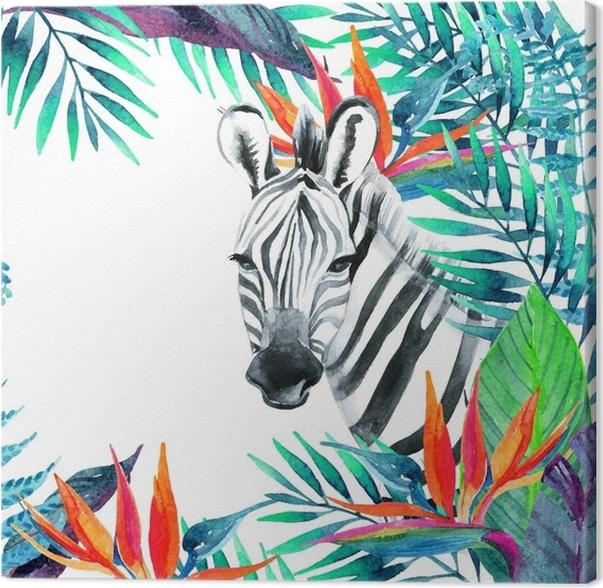 Cuadro en Lienzo Tarjeta de la selva tropical. diseño floral con ...