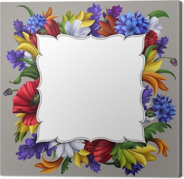 Cuadro en Lienzo Tarjeta de mensaje en blanco con marco de flores ...