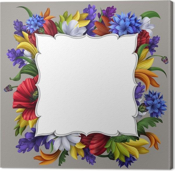cuadro en lienzo tarjeta de mensaje en blanco con marco de flores