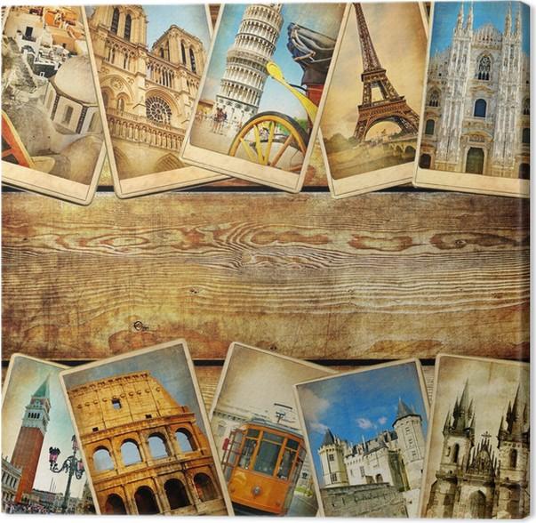 Cuadro en Lienzo Tarjetas Collage de la vendimia con el lugar para ...