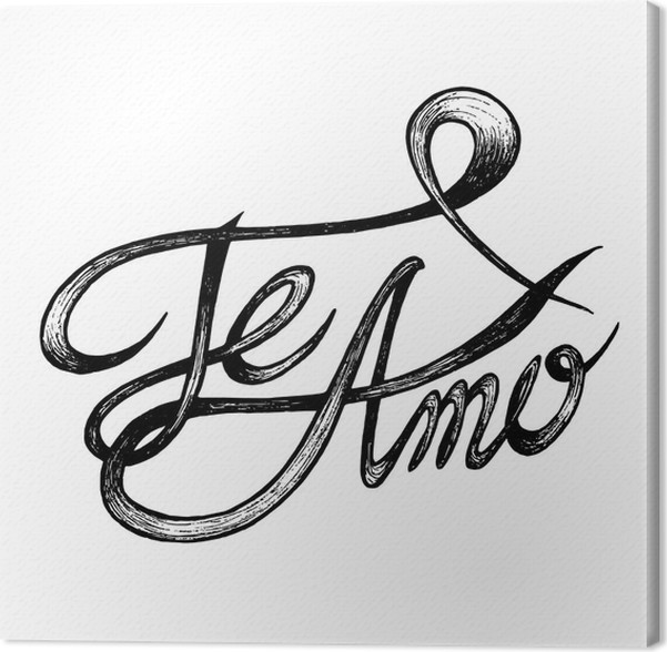 Cuadro en Lienzo Te Amo (te amo) - cotizaciones dibujado a mano ...