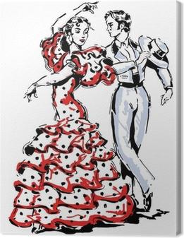 Cuadro en Lienzo Típico español flamenco ilustración vectorial