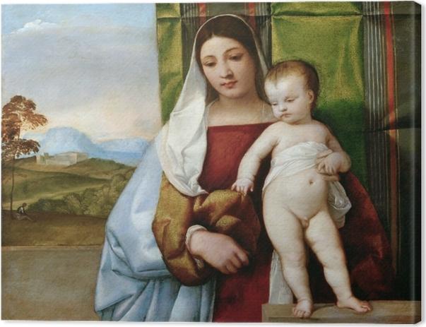 Cuadro en Lienzo Tiziano - María con un niño - Reproducciones