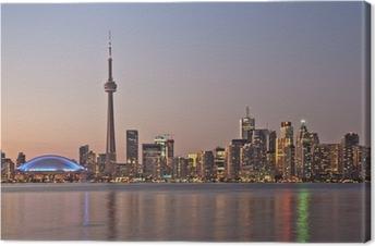 Cuadro en Lienzo Toronto horizonte de la noche CN Tower rascacielos del centro de la puesta del sol Canad