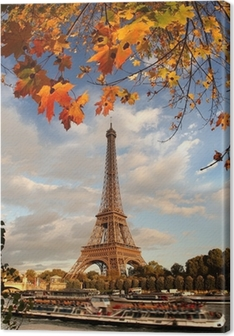 Cuadro en Lienzo Torre Eiffel con las hojas de otoño en París, Francia