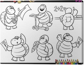 Tortuga De La Escuela Para Colorear De Dibujos Animados Conjunto