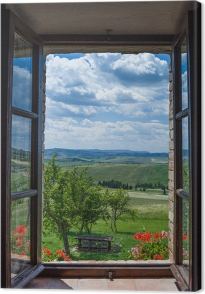 Cuadro en lienzo toscana paisaje desde la ventana pixers vivimos para cambiar - Quadri con finestre ...
