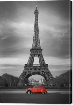 Cuadro en Lienzo Tour Eiffel et voiture rouge-Paris
