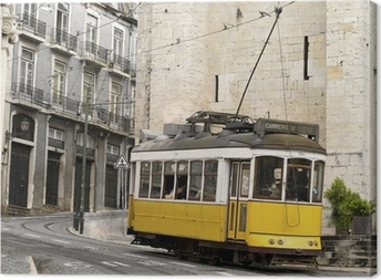 Cuadro en Lienzo Tranvía clásico amarillo de Lisboa, Portugal