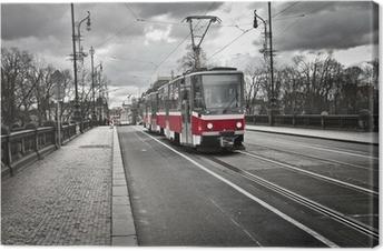 Cuadro en Lienzo Tranvía en la ciudad de Praga